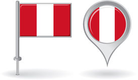 Peruvian pin icon and map pointer flag. Vector Royalty Free Stock Photography