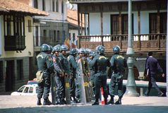 Peruvian Police. Cuzco, Peru: Police in the road Stock Photography