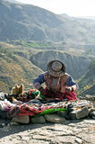 Peruvian Roadside Trader Stock Images