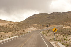 Peruvian Roadway. A Peruvian roadway near Arequipa Peru in the Yura district on a cloudy day Royalty Free Stock Photo
