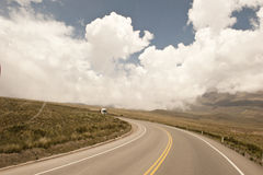 Peruvian Roadway. A Peruvian roadway near Arequipa Peru in the Yura district on a cloudy day Royalty Free Stock Photos