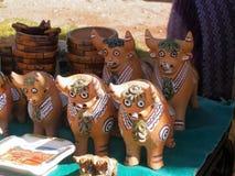 Peruvian roof bulls at souvenir stall in Puno Royalty Free Stock Photo