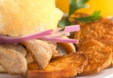 Peruvian Sandwich: Bread with Chicharron Stock Image