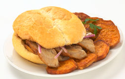 Peruvian Sandwich Called Chicharron Stock Photo