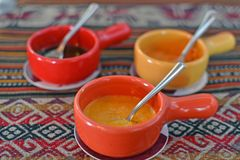 Peruvian sauces to eat with all kide of food. Peruvian spice sauces to eat with all kide of food stock photo