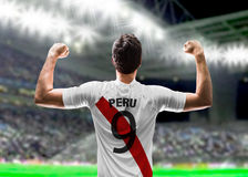 Peruvian soccer player in the stadium Stock Image