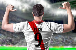 Peruvian soccer player in the stadium Royalty Free Stock Image