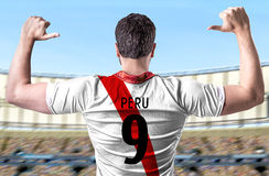 Peruvian soccer player in the stadium Royalty Free Stock Photo