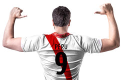 Peruvian soccer player on white background Stock Image
