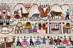 Peruvian style rug surface close up. Background peruvian carpet  handmade texture Stock Photos
