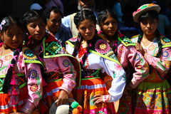 Peruvian teenage girls in Traditional Clothing Stock Images