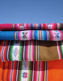 Peruvian textil. Peruvian fabric and blue sky. vVery traditional article from Peru and Bolivia Stock Images
