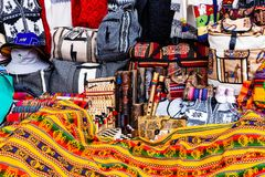 peruvian torby i pamiątki fotografia stock