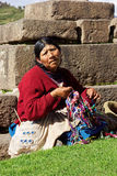 Peruvian traditional wares near ruins in Cusco in Peru. Peruvian traditional wares for sale near ruins in Cusco in Peru Stock Photo