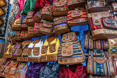 Peruvian traditional wares for sale in Pisac, Peru.  Royalty Free Stock Image