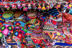 Peruvian traditional wares for sale in Pisac, Peru.  Royalty Free Stock Photos