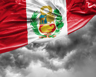 Peruvian waving flag on a bad day Stock Image
