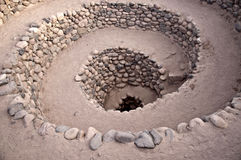 Peruvian Well. Elaborate spiral well strengthened with masonry in Southern Peru royalty free stock photo