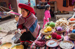Peruvian woman in Chinchero Royalty Free Stock Photo