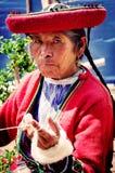 Peruvian woman in Chinchero Stock Images