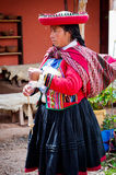 Peruvian woman in Chinchero Royalty Free Stock Photography