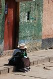 Peruvian woman in the Colca Canyon stock photography