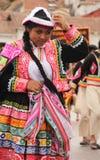 Peruvian Woman dancing at festival stock photography