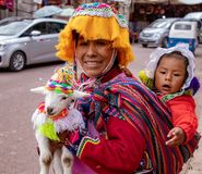 Peruvian Woman With Her Baby and a Baby Llama. A Peruvian woman, dressed in traditional attire with her baby and a baby llama in the Andes Mountains of Peru royalty free stock images