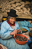 Peruvian woman peels potatoes at a market, Puno Stock Image