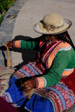 Peruvian Woman Spinning Wool. A Peruvian woman in the small town of Chivay, Peru spinning alpaca wool into thread to be used for making hand made clothing Stock Image