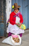 Peruvian woman on the street. Huaraz, Peru Royalty Free Stock Photos