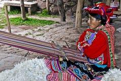Peruvian woman weaving. Cusco , Peru - May 26 2011 : Quechua Indian woman weaving with strap loom Royalty Free Stock Image