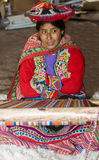 Peruvian woman weaving Royalty Free Stock Images