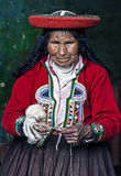 Peruvian woman weaving Royalty Free Stock Photography