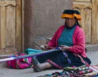 Peruvian woman weaving. Cusco , Peru - May 26 2011 : Quechua Indian woman weaving with strap loom Stock Photos