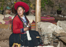 Peruvian woman weaving Royalty Free Stock Photo