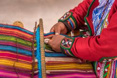 Woman weaving and handcrafting stock photos