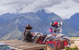 Peruvian women selling at tourist visiting place royalty free stock photos