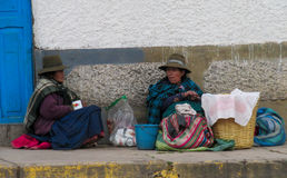 Peruvian women on the street Royalty Free Stock Photography