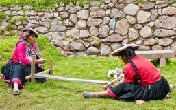 Peruvian women weaving Stock Photo