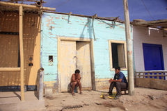 Peruvians very poor boys in front of their homes Stock Images