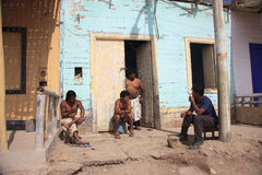 Peruvians very poor boys in front of their homes Royalty Free Stock Photo