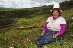 Peruwiańska kobieta blisko Maras, Święta dolina, Peru Zdjęcia Royalty Free