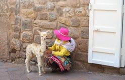 Peruwiańska mała dziewczynka w tradycyjnej sukni z dziecko lamą na ulicie Cusco, Peru, ameryka łacińska Selekcyjna ostrość fotografia royalty free