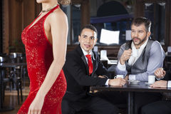 Pervert Customers Looking At Tango Dancer In Cafe Stock Images
