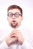 Pervert nerd looking at imaginary boobs Stock Image