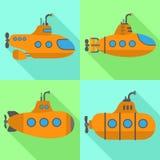 Peryskop podwodne ikony ustawiać, mieszkanie styl ilustracja wektor