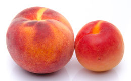 Perzik en abrikoos Stock Foto's