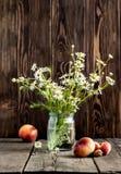 Perzik en bloemen Stock Foto