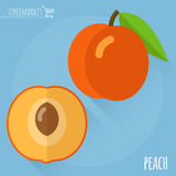 Perzik vectorpictogram Royalty-vrije Stock Fotografie